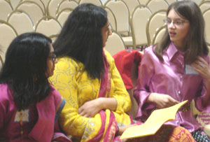 Photo of tellers talking before the performance
